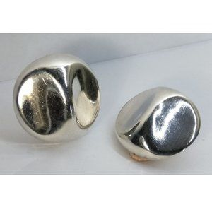 Taxco Sterling Silver Pinch Button Clip Earrings